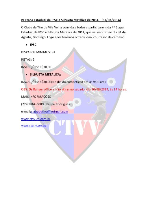 Convite da 4» Etapa Estadual de  IPSC e Silhueta Metálica CTVV