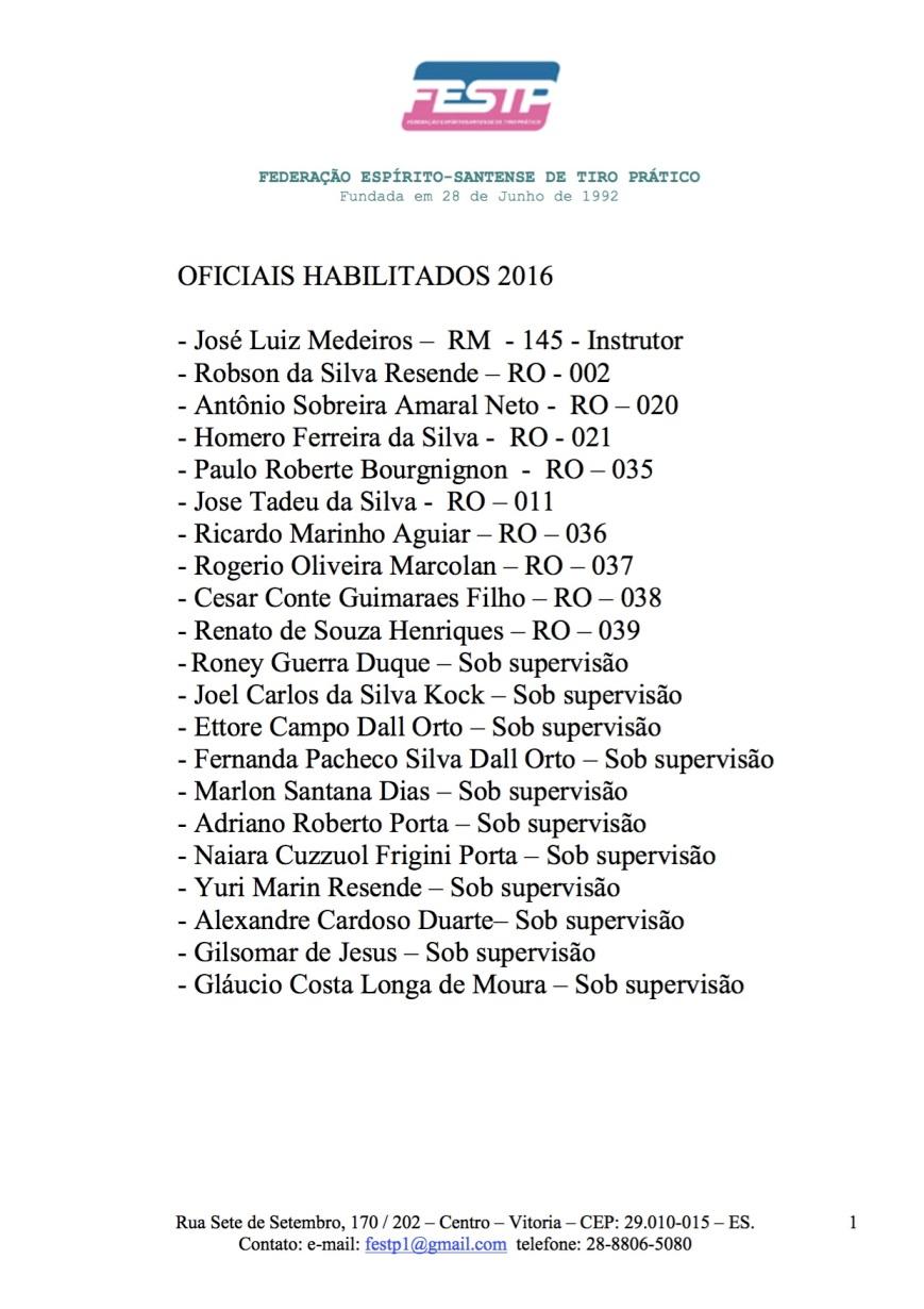 oficiais habilitados 2016